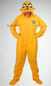652bd40e1fce NEW Adventure Time JAKE Adult Costume PJS Pajamas Hood Mask Hat ...