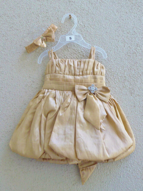 Pretty Gold baby pageant wedding party bolero flower girl dress size 6-12 months