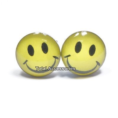 Happy Face Smiley Stainless Steel Stud Earrings - Mens Womens Fashion - New