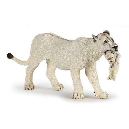 PAPO Animale Selvatico Regno BIANCO LEONESSA CON CUB figura 50203 NUOVO