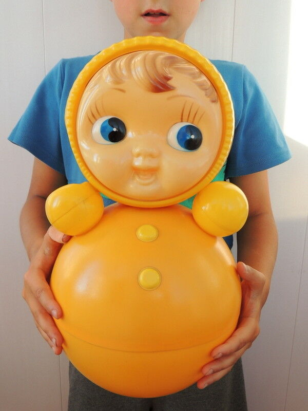 80's Huge Vintage Russian Nevalyashka Celluloid Plastic Roly Poly Juguete Doll 40 cm