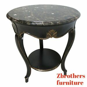 Theodore-Alexander-BlacK-Ebonized-Marble-Top-French-Regency-Lamp-End-Table