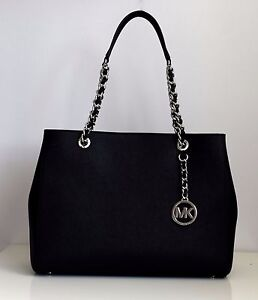 MICHAEL-KORS-Damen-Tasche-LG-TOTE-Leder-Modell-SUSANNAH-schwarz-Neu