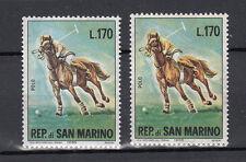 SAN MARINO 1966 VARIETA' L. 170 CAVALLI VARIANTE SFONDO COLORE BLU' +  CAMPIONE
