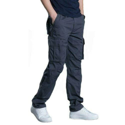 Men Pocket Long Straight Leg Pants Loose Fit Fall Casual Overalls Cargo Trousers