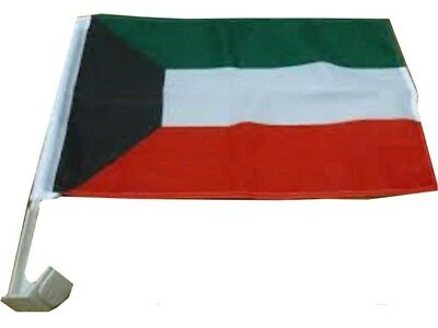 """NEW KUWAIT 12/"""" X 18/"""" INCH COUNTRY FLAG BANNER ON 2 FOOT WOODEN STICK ."""
