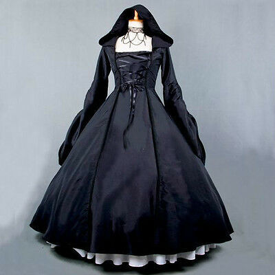 Ladies Black Gothic Victorian Hooded Ruffles Lolita Dress Cosplay Costume