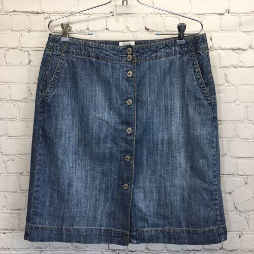 Liz & Co Button Front Denim Skirt Womans 10 Mediu… - image 1