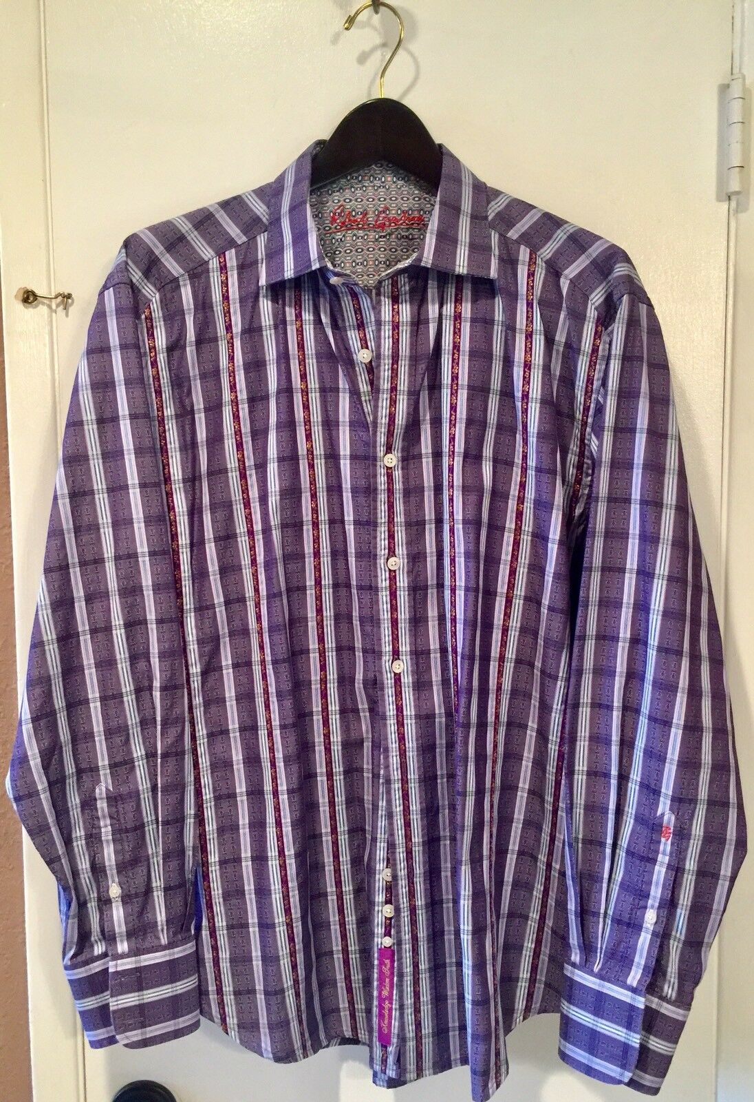 Robert Graham Shirt Grey Purple Plaid w  Detailed Embroidery and Flip Cuff XL