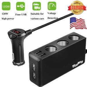 3-Way-Socket-Cigarette-Lighter-Splitter-4USB-Ports-12V-24V-Car-Charger-Adapter