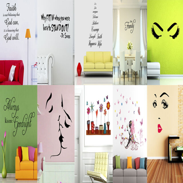Beautiful PVC Wall Stickers Quote Removable Vinyl Decal Art Mural DIY Home Decor