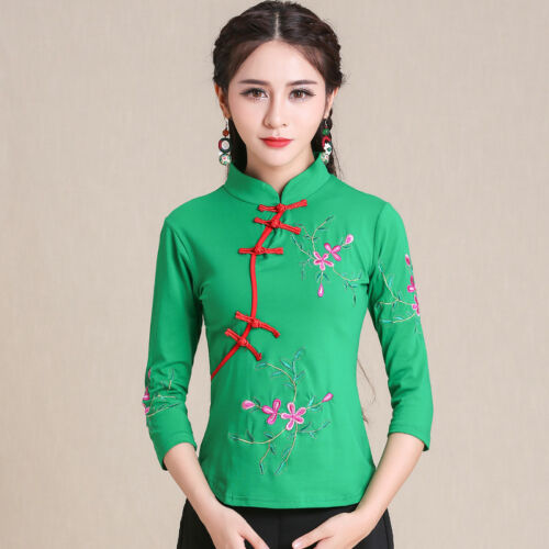Chinese Embroidery Womens Cotton Long Sleeve T-shirt Slim Tops Folk Blouse M-5XL