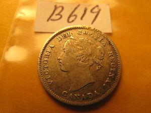 Canada-1893-5-Cent-Rare-Silver-Coin-ID-B619
