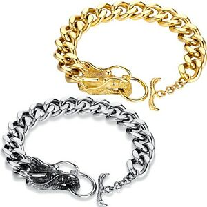 Rhodium Plated Curb Chain Bracelet Silver Chain Bracelet for Men Toggle Clasp Bracelet