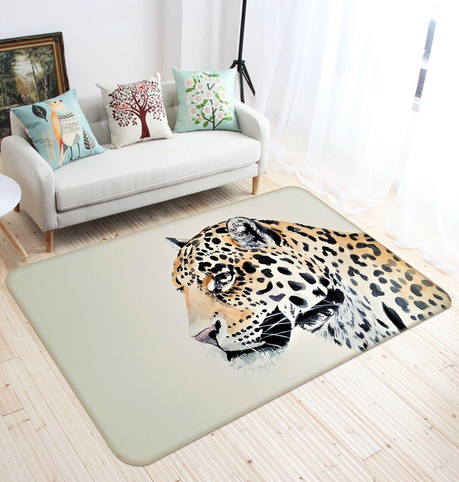 3D Painting Leopard C416 Animal Non Slip Rug Mat Elegant Photo Carpet Zoe