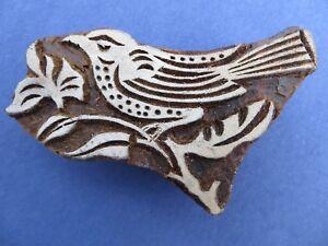 """Aus Holz Geschnitzt Jade Weiß 2 WunderschöNen Textilstempel """"großer Vogel"""" Aus Indien / Asien"""