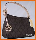 MICHAEL KORS JET SET SMALL ZIP SHOULDER BROWN SIGNATURE PVC BAG TOTE NEW $198