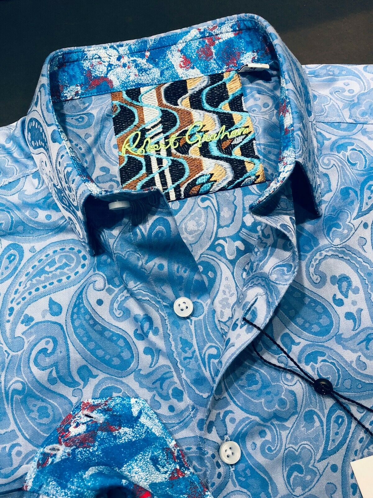 Robert Graham Medium Shirt Mens Abalone Way Light bluee Paisley Long Sleeve New