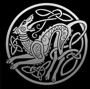 12-034-celtic-dog-wolf-Decal-matte-silver-Vinyl-Car-bumper-sticker-beast