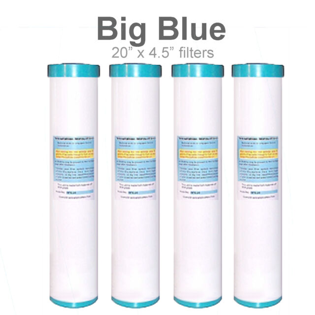 "(4) Big Blue 20""x4.5"" Whole House GAC Granular Coconut Shell Carbon Water Filter"