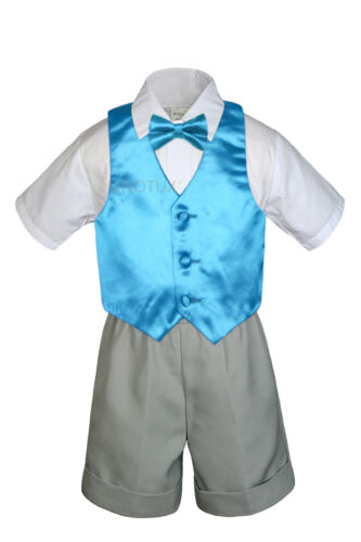 Baby Boy Toddler Formal Vest Shorts Silver Suit Extra Vest Bow Tie 7pc Set S-4T