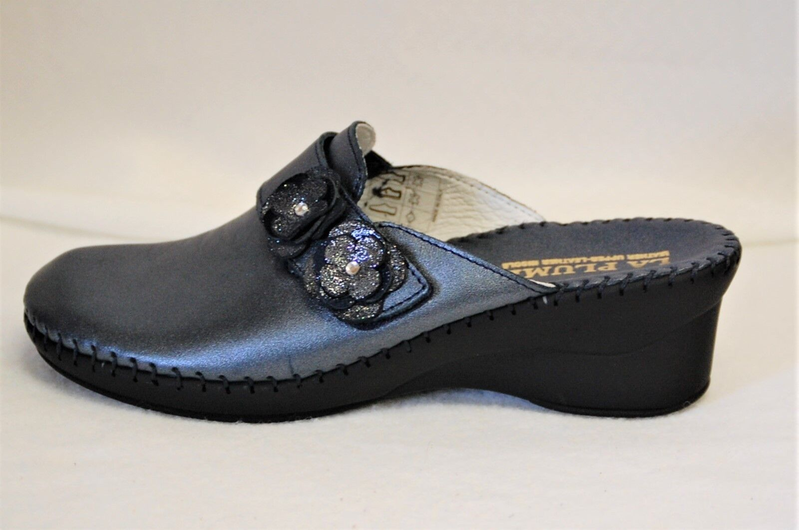 La Plume Beth Beth Beth leather Mule with Pearl bluee Finish on 2 1 4 inch wedge Euro 39 fe9198