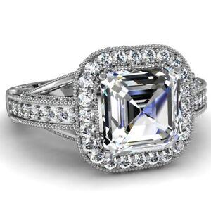 Anillo-de-Compromiso-Diamante-3-75-Ct-Asscher-amp-Corte-Redondo-Certificado-GIA