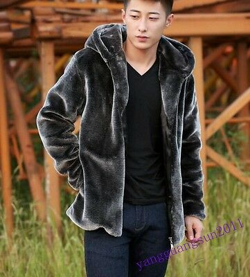 New Fashion Mens Faux Fur Coat Hooded Furry Zipper Warm Winter Plus Size Jacket