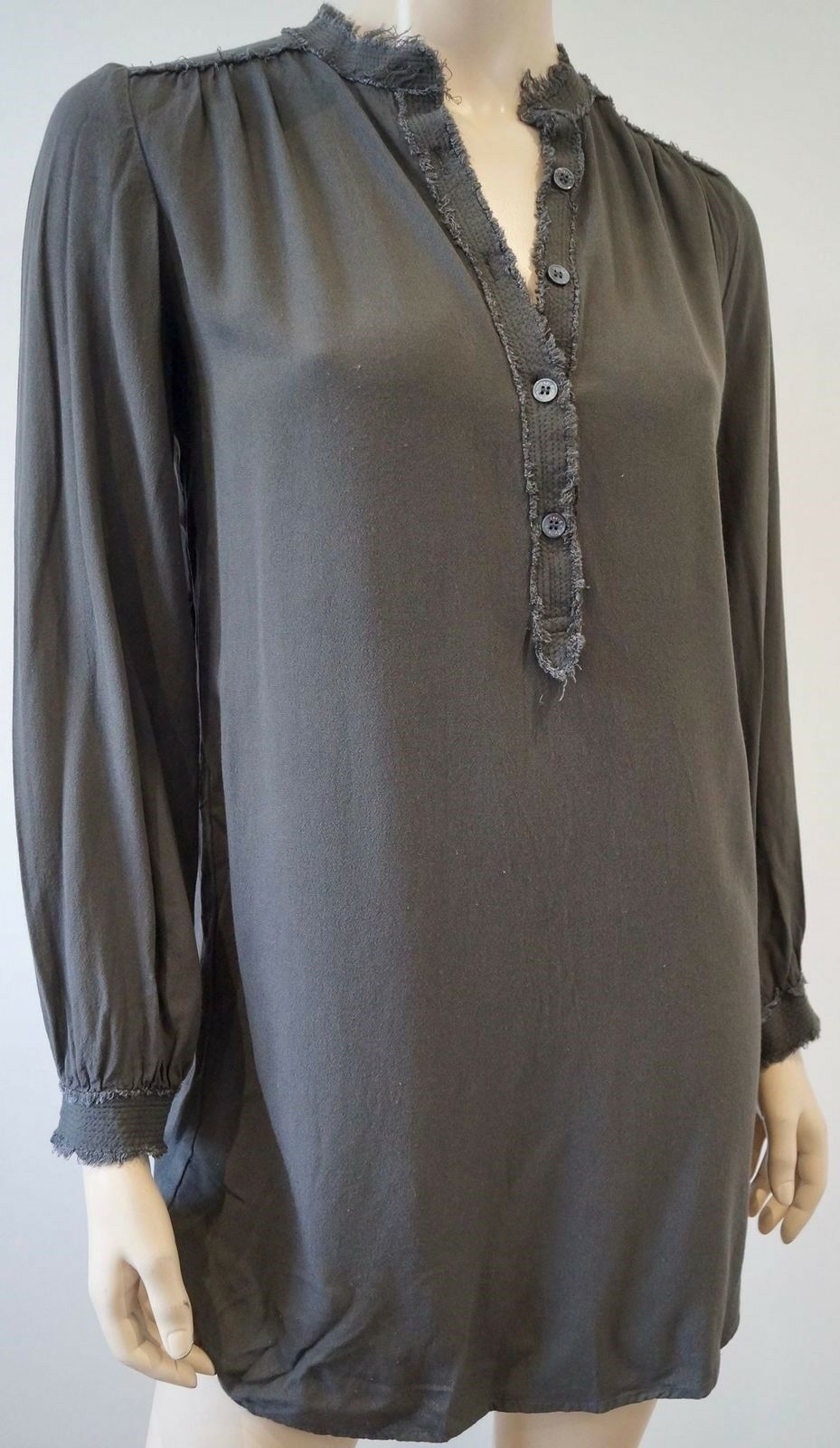 ZADIG & VOLTAIRE Woherren grau Collarless Long Sleeve Casual Blouse Shirt Top XS