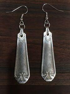 Antique Vintage Spoon Wm Rogers Beloved Earrings Silverware Plate Jewelry
