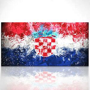 kroatien flagge bild leinwand abstrakt kunst bilder. Black Bedroom Furniture Sets. Home Design Ideas