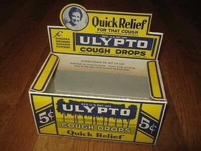 Ulypto Cough Drops Zerbst St Joseph MO Drug Grocery Store Display 1930s NOS New