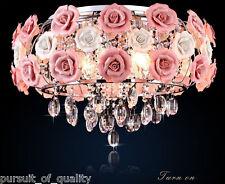 Ceramic Pink Rose Flower Chandelier  Light Crystal Pendant Lamp Ceiling Fixture