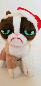 "Grumpy Cat Sitting Christmas 7"" Tall Santa Hat Holiday Plush Stuffed Animal"