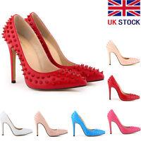 WOMENS HIGH HEELS POINTED CORSET STILETTO PUMPS RIVET SHOES Studs UK 2- 9