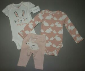 Carter/'s NWT 12M Infant HAPPY Girl 3Pc Bodysuit Pant Set $22