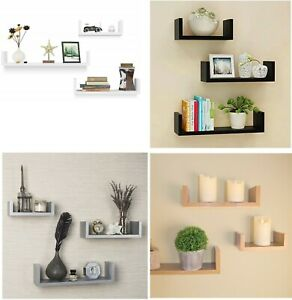 Set-of-3-U-Shape-Floating-Wall-Shelves-Storage-Display-Shelf-White-Black-Grey