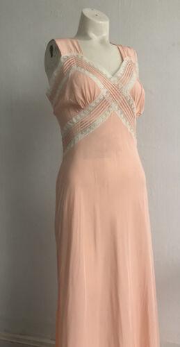Vintage 1930s Art Deco Pink Rayon Slip Dress Bias
