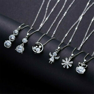 Cute-925-Silver-Crystal-Zircon-Necklace-Pendant-Choker-Chain-Women-Jewelry-Gift