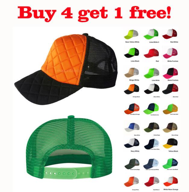 Plain Baseball Cap Solid Trucker Mesh Blank Meshback Hat Adjustable Men New