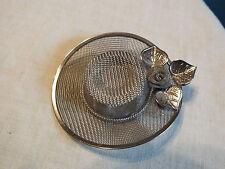 "Stunning Brooch Pin Silver Tone Mesh Hat Bonnet Rose 2 1/2"" NICE"
