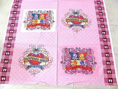 Pink Concepts Pampered Girls Pillow Panel Logo Crests Cotton Fabric By Yard