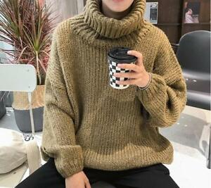 Men-039-s-Loose-Turtleneck-Knitted-Pullover-Soild-Oversize-High-Neck-Sweaters-Tops
