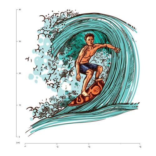 Surfer Welle Wandtattoo WS-50939