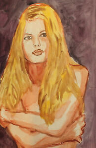 Original vintage watercolor painting impressionist nude girl portrait