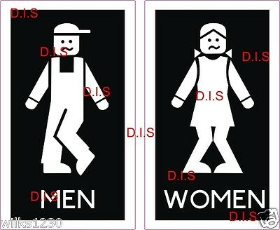2 Toilet Sign Mens And Womens Wc Lego Men Bathroom Door Sticker Black And White Ebay