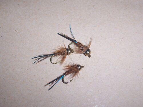 Goldhead PTN Pheasant Tail flash trout fishing flies sizes 10 to18 by Salmoflies