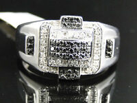 Mens White Gold Finish Round Cut Black/white Diamond Pave Designer Band Ring .75 on sale