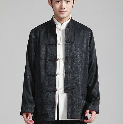 Double face Chinese men's silk jacket/coat Black and burgundy SZ: M L XL 2XL 3XL