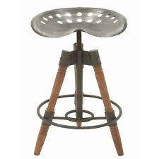 Deco 79 Rustic Farmhouse 3 Leg Tripod Metal Saddle Seat Wooden Bar Stool  Chair